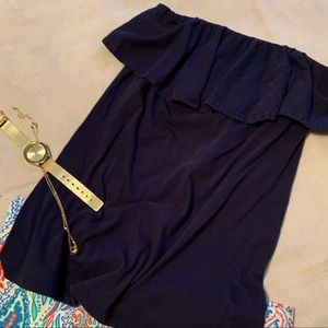 Lily Pulitzer navy strapless top size S